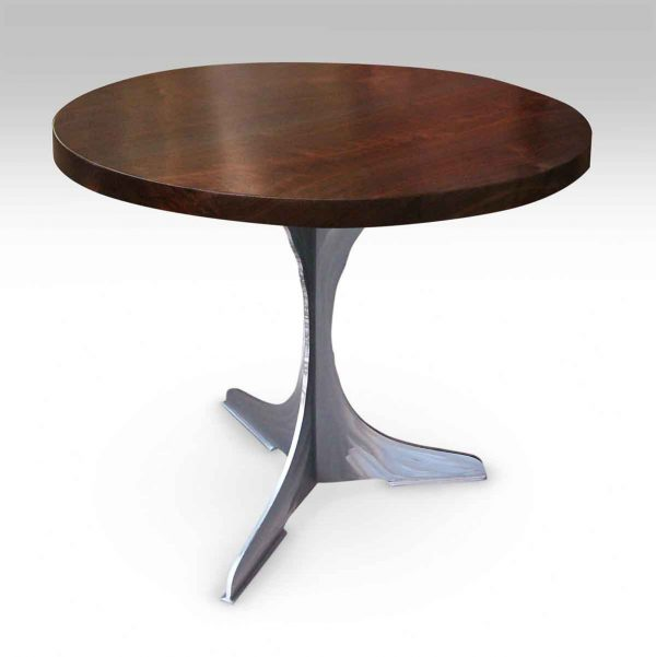 Round Walnut Top Bistro Table with Steel Pedestal Base