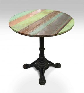 Wonderful Copper Patch Bistro Table With Ornate Iron Base