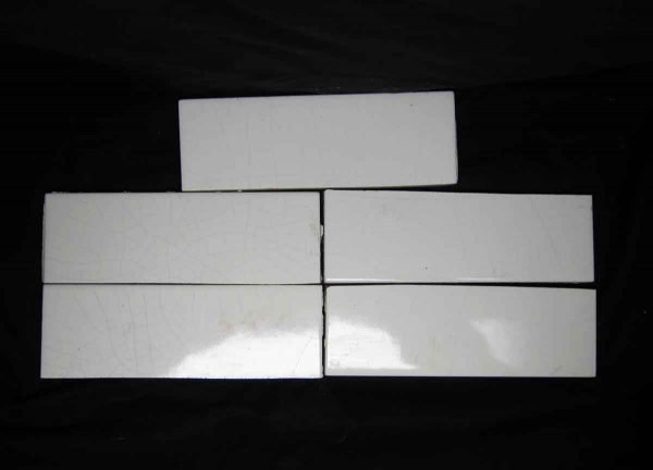 Salvaged Set of Five Crackled White Tiles - Wall Tiles