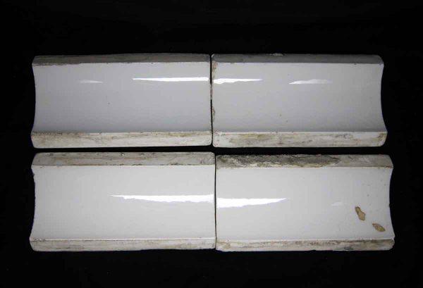 Antique Set of Four White Inside Corner Tiles - Bull Nose & Cap Tiles