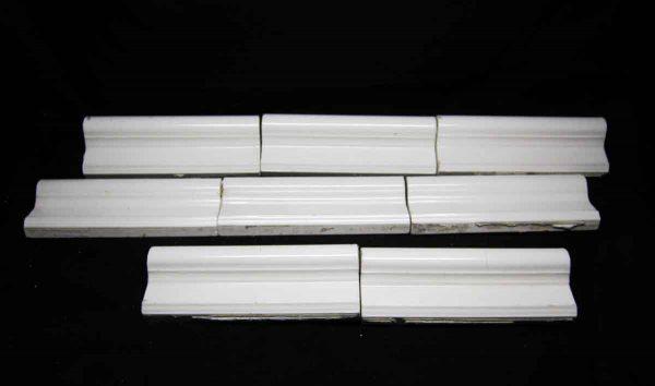 Antique Set of Eight White Cap Tiles - Bull Nose & Cap Tiles