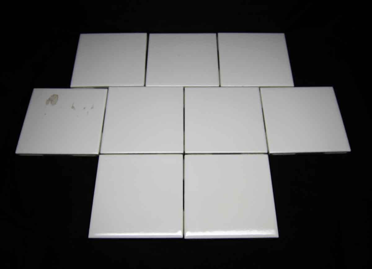 Set of Nine White 4.25 Beveled Edge Tile Set   Olde Good Things