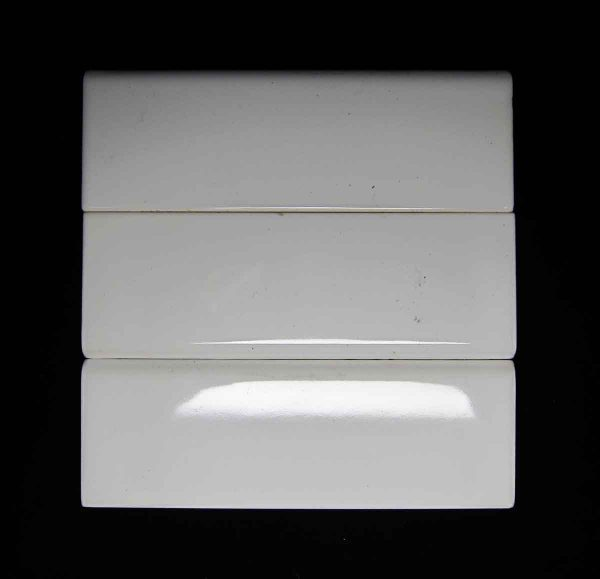 Olde Set of Three White Rounded Edge Tiles - Bull Nose & Cap Tiles