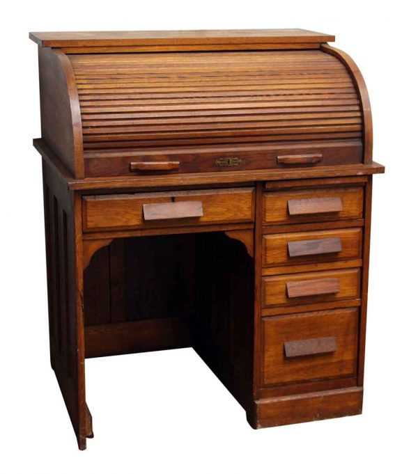Vintage Solid Oak Roll Top Desk with Recessed Panels - Office Furniture