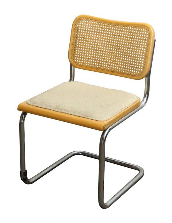 Vintage Cane Wood & Chrome Chair - Seating