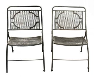 Vintage Bid Lid Folding Perforated Metal Chairs