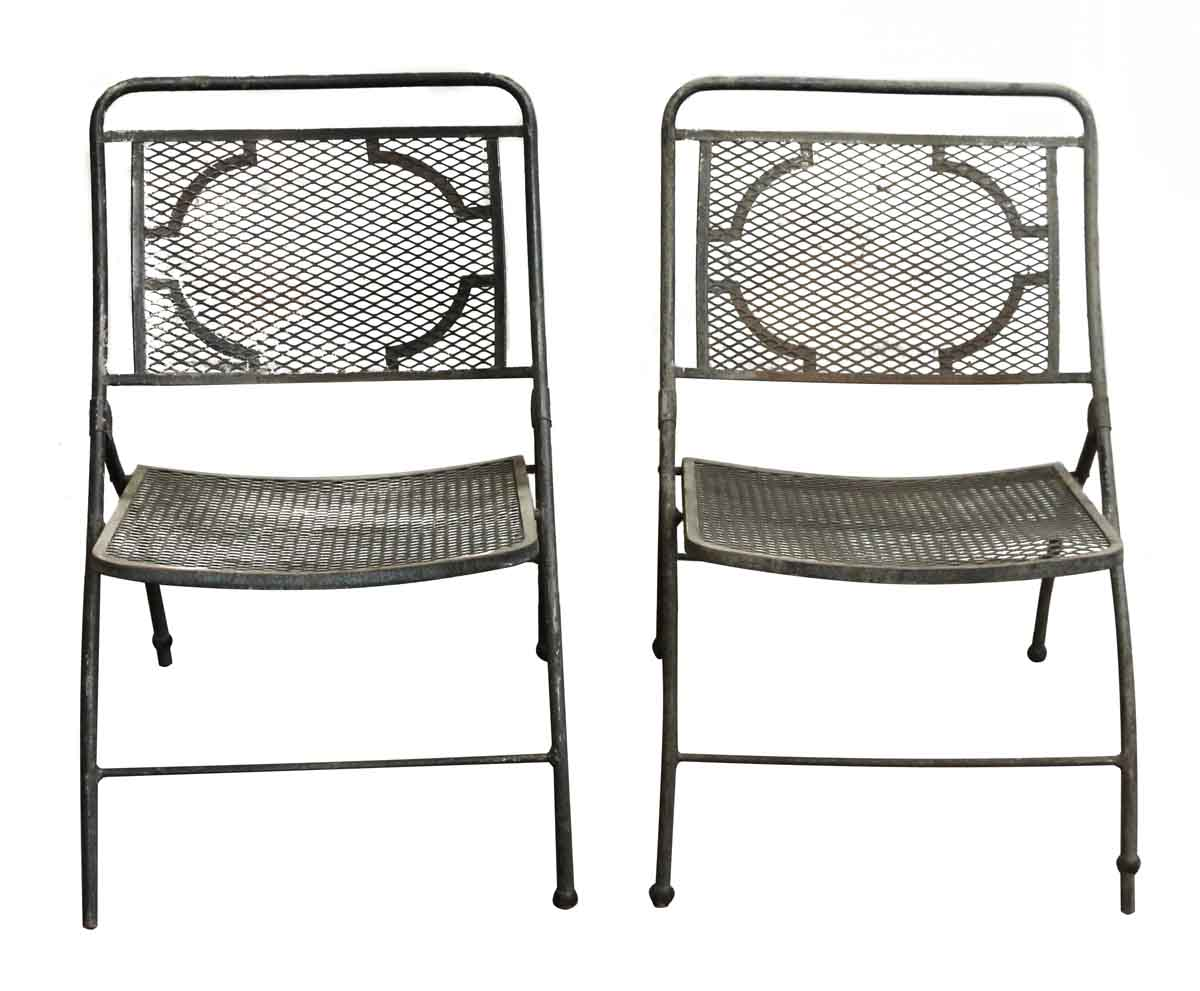Vintage Bid Lid Folding Perforated Metal Chairs Olde