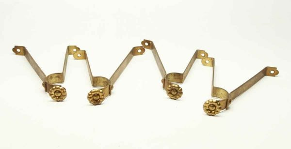 Set of Four Vintage Brass Floral Curtain Brackets