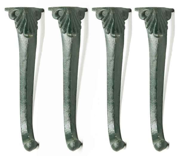 Set of Four Cast Iron Green Furniture Legs