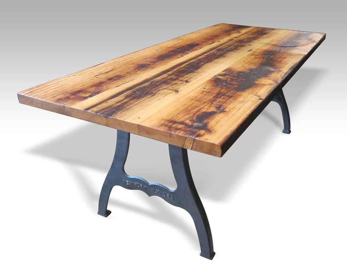 61e02d3913f17 Reclaimed Farm Table with New York Machine Legs · View online now!