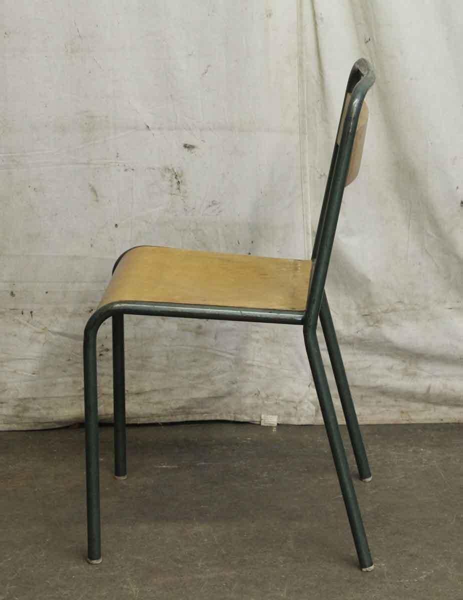vintage french steel wood school chair
