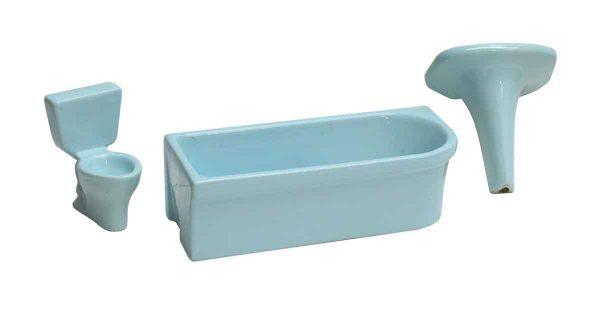 European Imported Blue Ceramic Miniature Bathroom Set - Bathroom