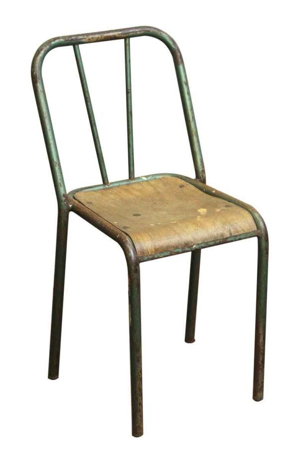 Reclaimed French Distressed Green School Chair - Seating