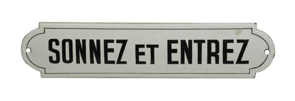 Vintage French Sonnez et Entrez Ring and Enter Wall Sign - Vintage Signs