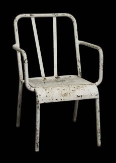 Vintage Distressed White Metal Tolix Arm Chair