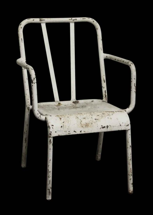 Vintage Distressed White Metal Tolix Arm Chair - Seating