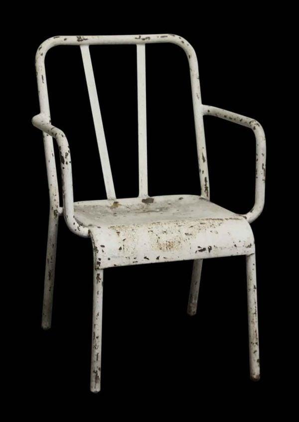 Vintage Distressed White Metal Tolix Arm Chair - Seating
