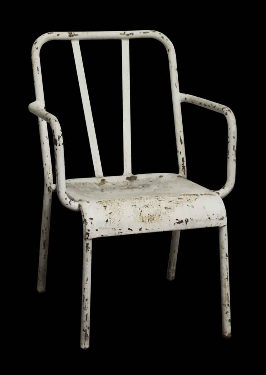 Vintage Distressed White Metal Tolix Arm Chair Olde Good