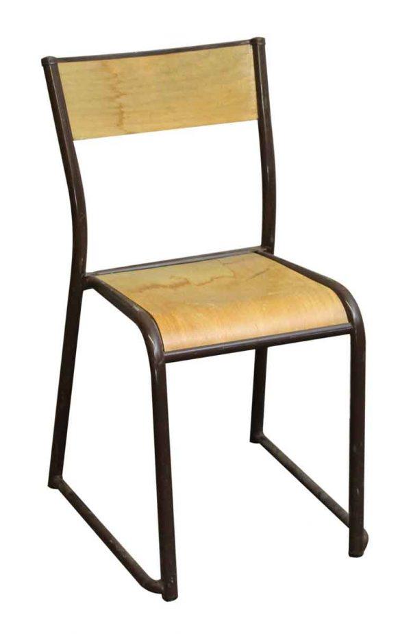 Imported Brown Steel & Wood School Chair - Seating