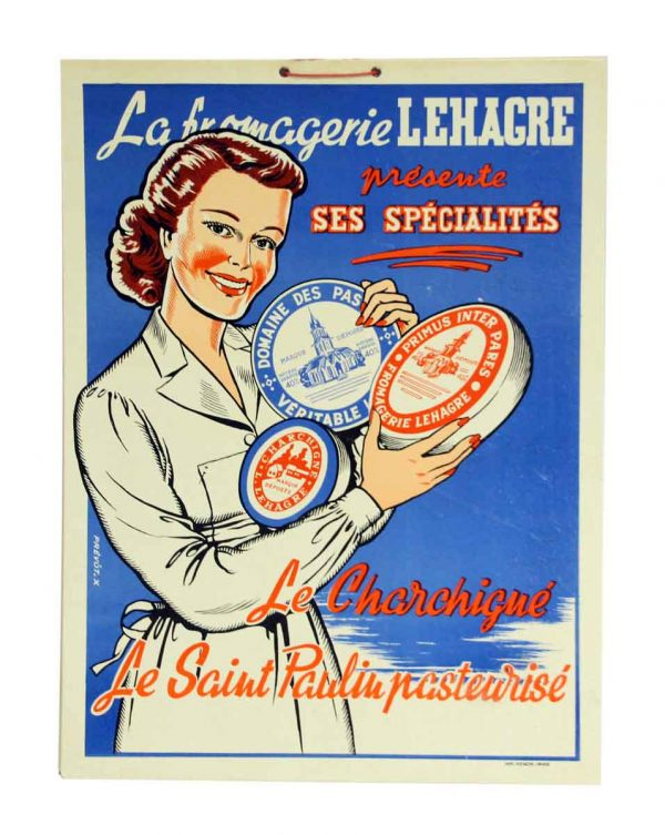 French Labromagerie Lehagre Cheese Cardboard Sign - Posters