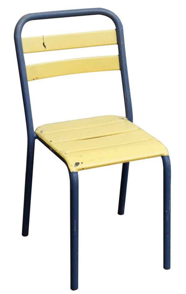 Vintage Imported Blue & Yellow Metal Chair - Seating