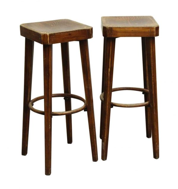 Pair of Wooden Hutton Signed Bar Stools - Seating