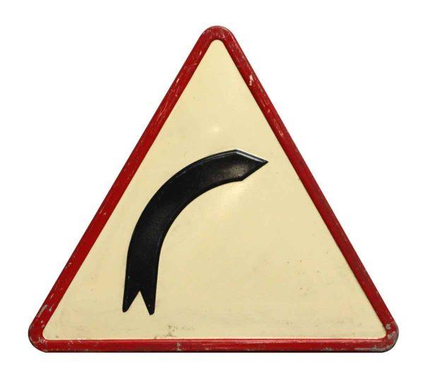 Large Vintage Metal Right Curve Road Sign - Vintage Signs