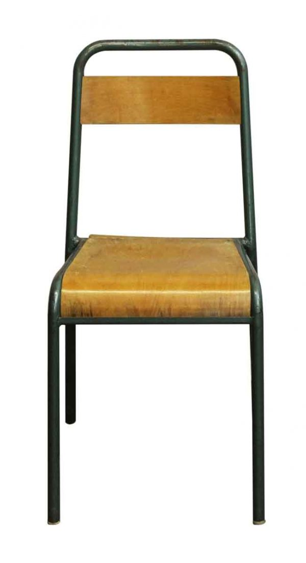 Vintage French Steel & Wood School Chair - Seating