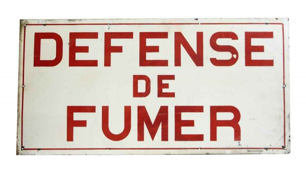 Vintage Reclaimed French No Smoking Wall Sign - Vintage Signs