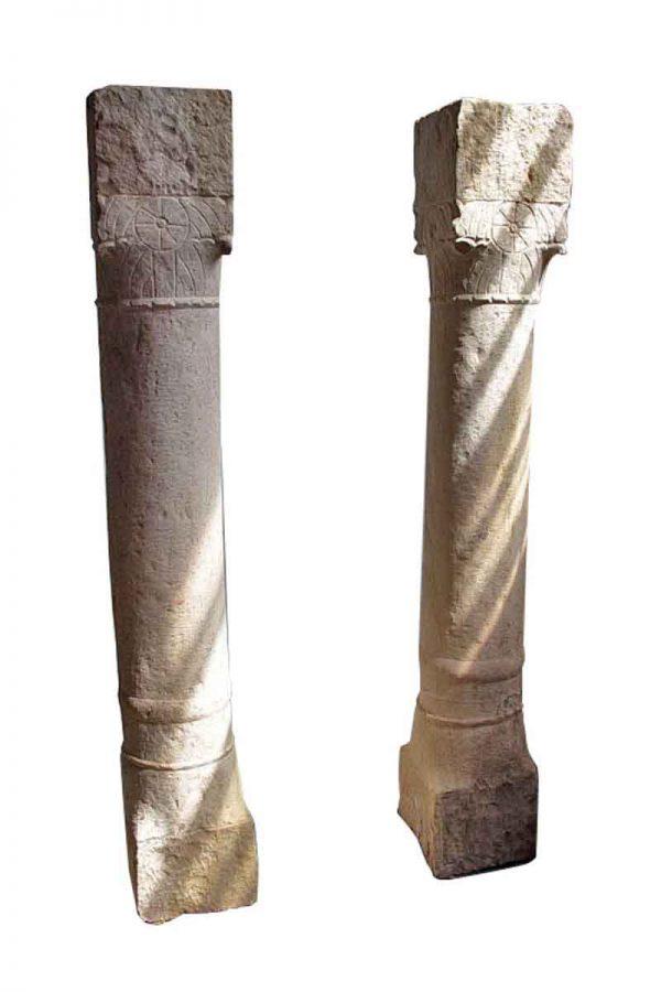 Pair of Antique Indian Sandstone Columns - Columns & Pilasters