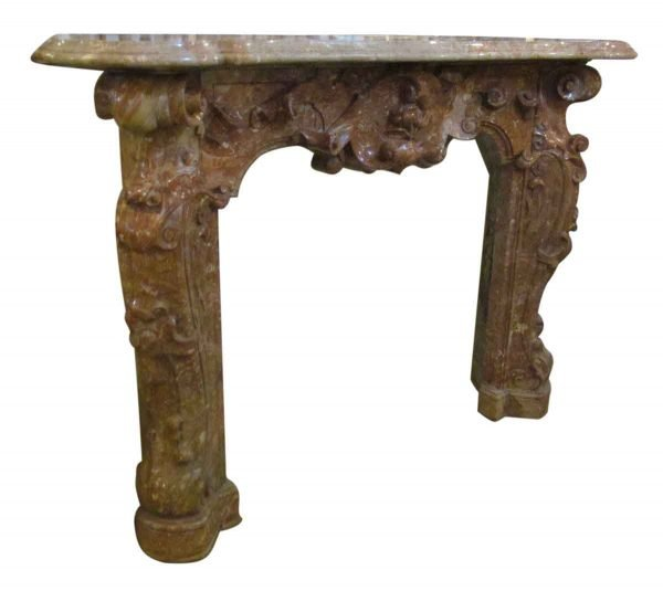 19th Century Hand Carved Baroque Duquesa Rosa Brown Marble Mantel - Mantels