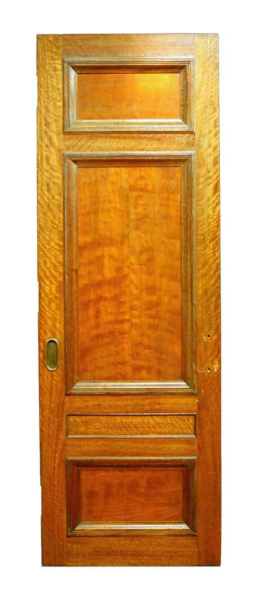 3 Panel Mahogany Old Salvaged Pocket Interior Door - Pocket Doors