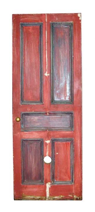 Antique Five Panel Oak Door With Mouse Hole