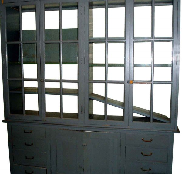 Reclaimed Gray Oak Cabinets with Glass Front - Cabinets