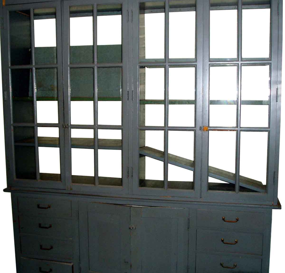Reclaimed Gray Oak Cabinets With Glass Front Olde Good Things