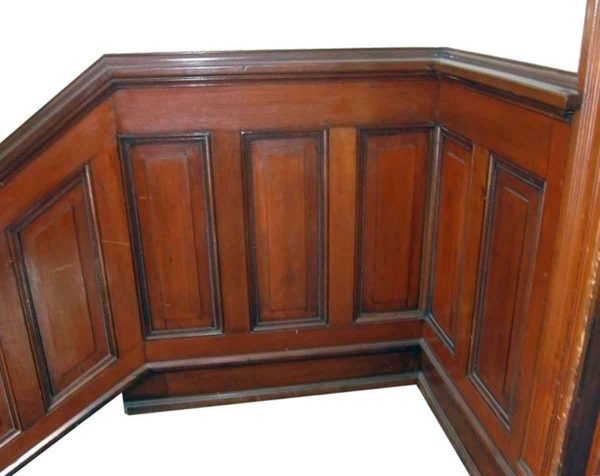 Lot of Salvaged Beaded Mahogany Wood Stair Wainscoting - Paneled Rooms & Wainscoting
