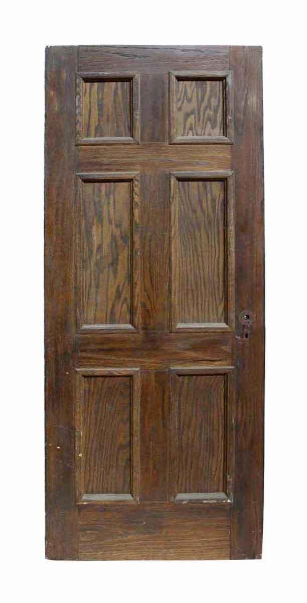 Antique six panel oak wooden door olde good things 6 panel hardwood interior doors