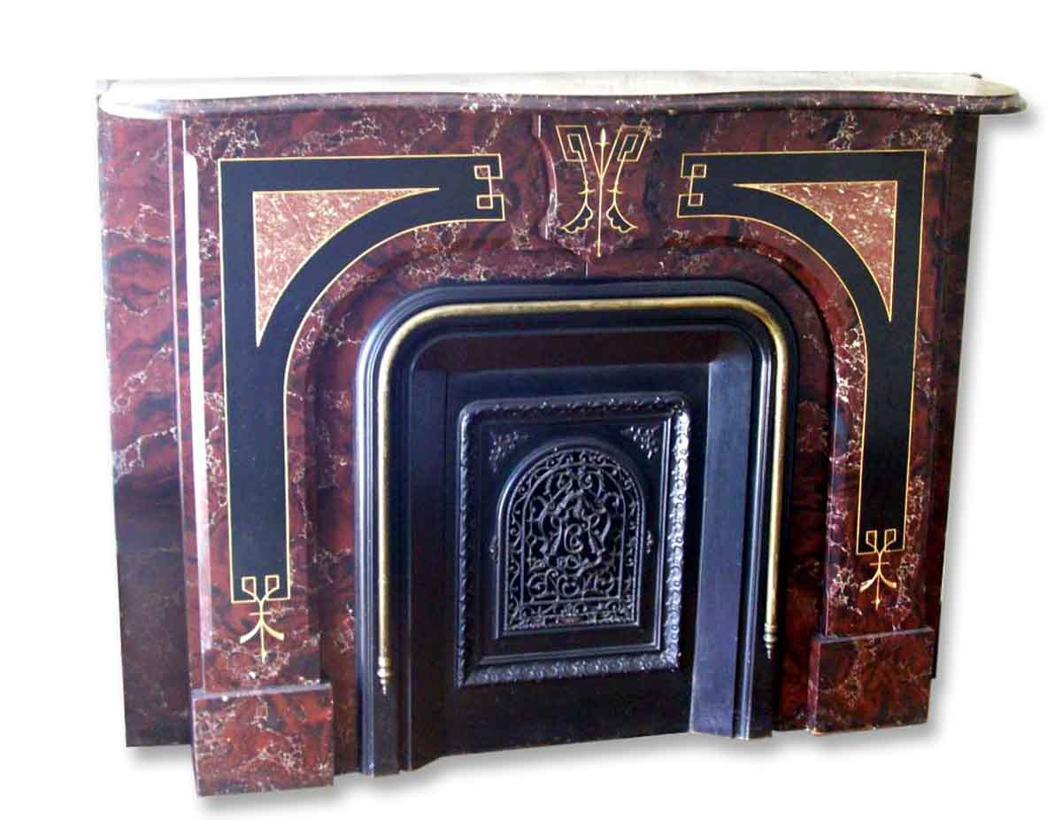 Antique Victorian Slate Mantel With Faux Marble Painted