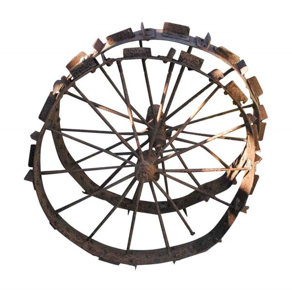 Old Wrought Iron Wagon or Tracker Wheel - Decorative Metal