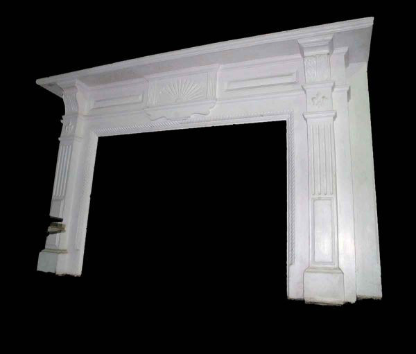 White Mahogany Mantel with Fleur de lis Carvings - Mantels
