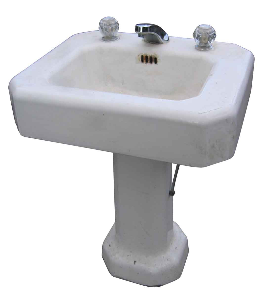 reclaimed bathroom fixtures salvaged white pedestal sink with newer faucet olde 14089