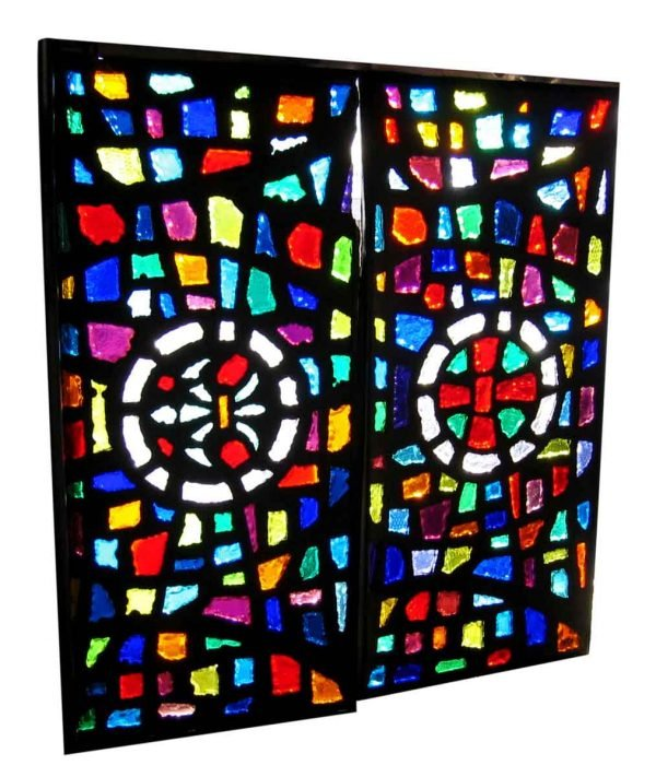 Antique Chunk Rock Stained Glass with Fleur De Lis - Religious Stained Glass