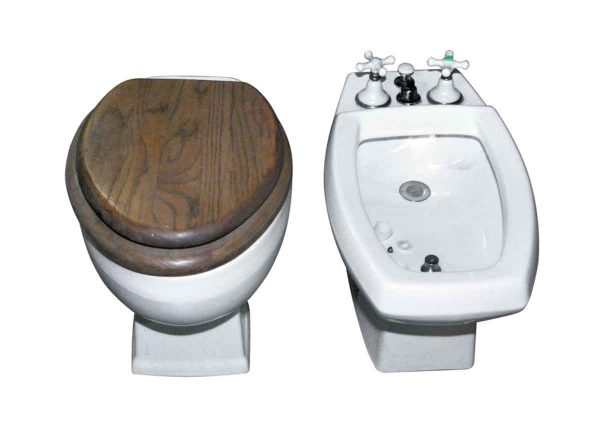 Reclaimed Bidet & Toilet Set with Wooden Seat - Bathroom