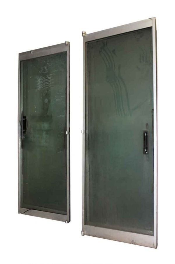 Salvaged Glass & Brushed Aluminum Entry Double Doors - Commercial Doors