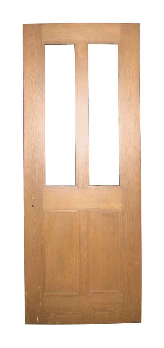 Antique Two Panel Oak Door with Two Panes - Standard Doors