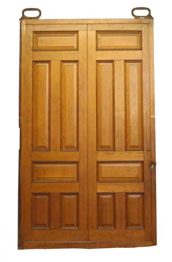 Raised Panel Oak Pocket Doors - Pocket Doors