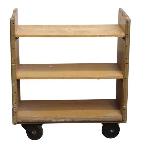Reclaimed Solid Maple Rolling Book Cart - Carts