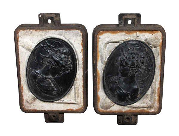 Pair of Art Nouveau Molds Depicting Bust of Serene Women - Industrial Molds