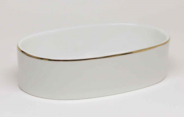 Vintage White Ceramic Soap Dish with Gold Trim - Bathroom
