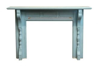 antique blue wooden mantel with butterfly detail - Antique Fireplace Mantels